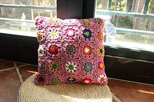 Cojín de ganchillo hecho a mano para cama de jardín de princesa de ganchillo, sofá o respaldo de felpa por Bag Large, Morado claro, Size can be customized