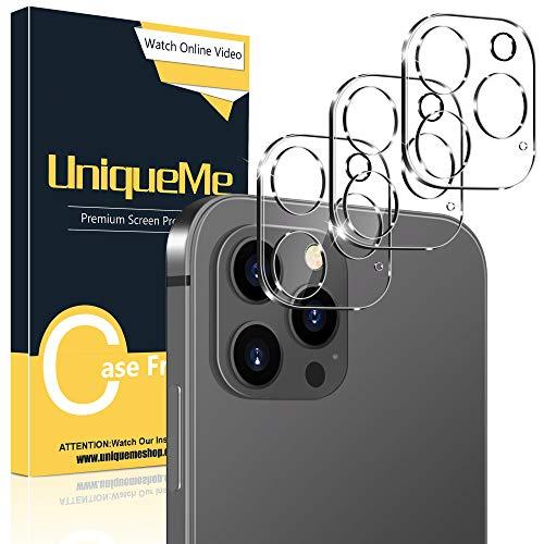 UniqueMe [3 Pezzi] Pellicola Fotocamera Compatibile con iPhone 12 Pro Max 6,7,[Bubble-Free] Pellicola Protettiva Vetro Temperato Fotocamera [Facileinstallare] [Durezza 9H].