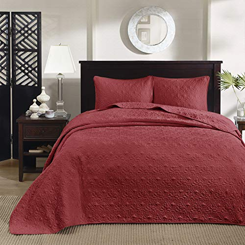 Madison Park Quebec King Size Quilt Bedding Set - Red , Damask – 3 Piece Bedding Quilt Coverlets – Ultra Soft Microfiber Bed Quilts Quilted Coverlet