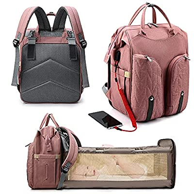 5 in 1 Diaper Bag Backpack, NAECOUS Travel Bassinet Bag Foldable Baby Bed, Foldable Changing Station, Waterproof, USB Charging Port, Baby Bag Portable Crib