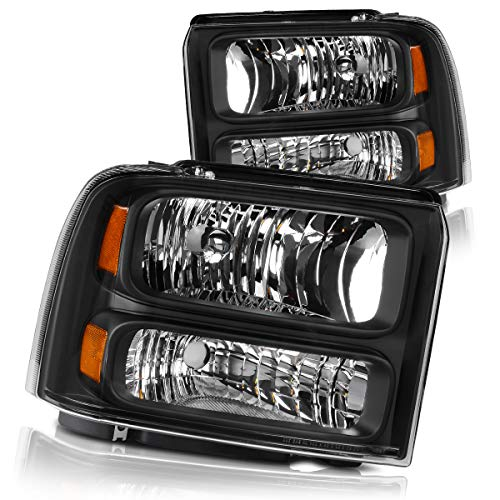 DWVO Headlights Assembly Compatible with 2005 2006 2007 ford F250 F350 F450 F550 Super Duty/ 05 ford Excursion Headlamp Replacement,Black Housing