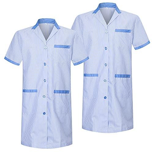 MISEMIYA - Pack*2 - Bata SEÑORA Mujer ESTÉTICA Uniforme Laboral Dentista CLINICA Doctores Limpieza Veterinaria SANIDAD HOSTELERÍA Ref.T8162 - XXL, Celeste