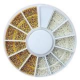 YepYes 1 Set Caviar Nails Art 2 Colores Mini Bola de Acero Bead Beads Nails 3D Decoraciones de Belleza Herramienta de Accesorios de manicura (01)