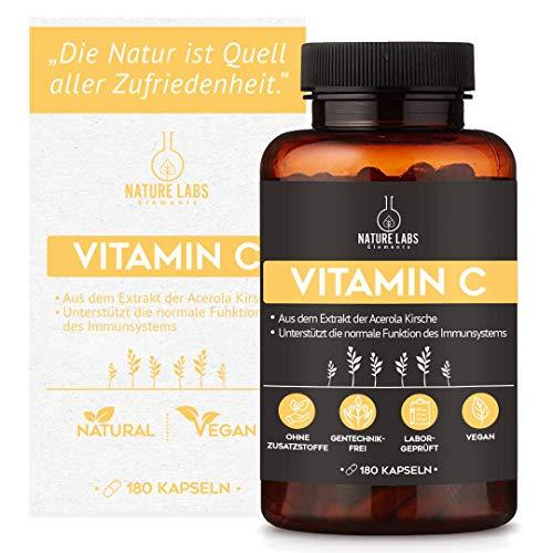 Acerolaextrakt Vitamin C Kapseln - von Nature Labs Elements - Hergestellt in Deutschland (180 Kapseln)