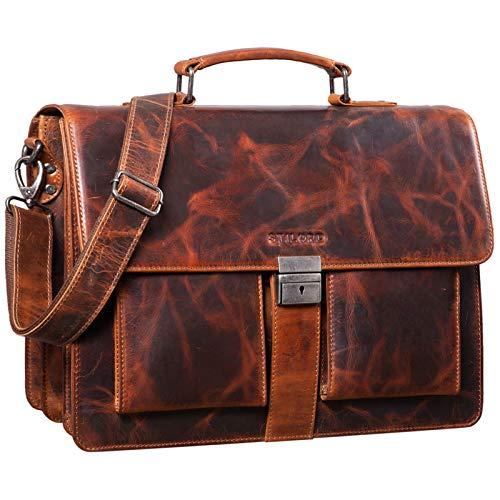 STILORD 'Eros' Aktentasche Leder 15,6 Zoll Laptoptasche Business Umhängetasche Große Arbeitstasche XL Vintage Ledertasche mit Dreifachtrenner, Farbe:Milano - braun