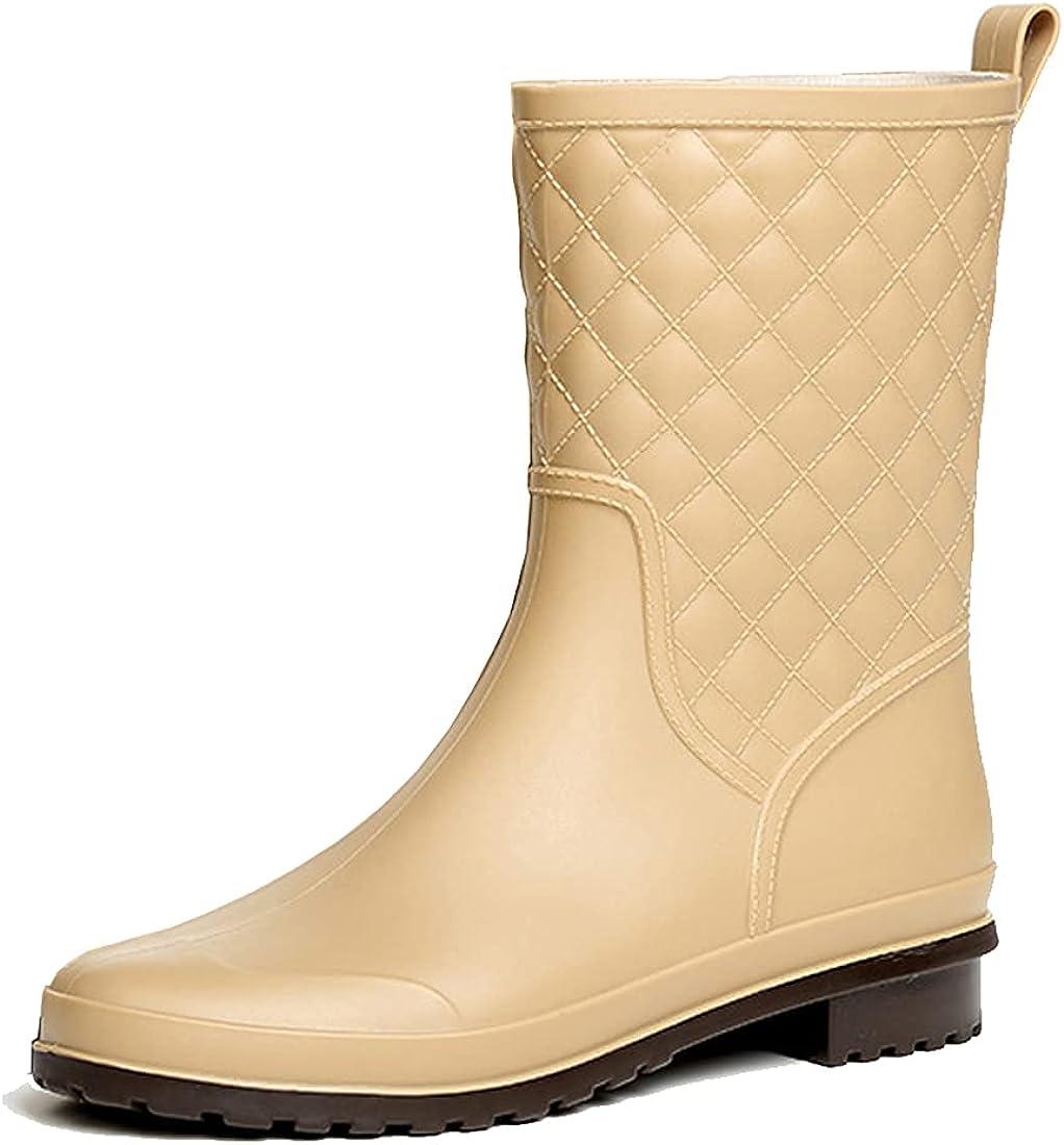 Women's Mid Calf Rain Boots Waterproof Garden Shoes Outdoor Farm Work Mud Boots