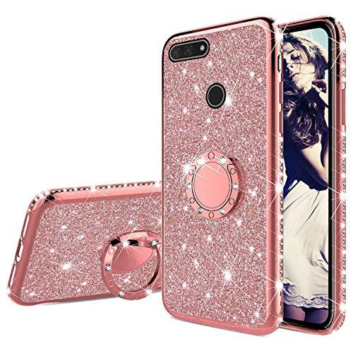 Misstars Glitzer Hülle für Huawei Honor 7A Rose Gold, Bling Strass Diamant Weiche TPU Silikon Handyhülle Anti-Rutsch Kratzfest Schutzhülle mit 360 Grad Ring Ständer für Huawei Y6 2018 / Honor 7A