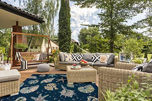 Great American Distributors - Starfish and Seashells Beach Theme Area Rug - Modern Coastal Home Decor, Indoor and Outdoor Carpet, Nautical Navy, 5'3' x 7'6'