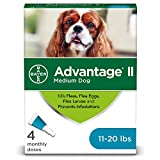 Advantage II 4-Dose Medium Dog Flea Prevention, Topical Flea Treatment for Dogs 11-20 Pounds