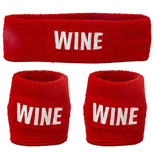 Funny Guy Mugs Wine Unisex Sweatband Set (3-Pack: 1 Headband + 2 Wristbands)
