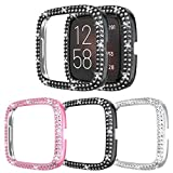 [3-Pack] Protector Case Compatible with Fitbit Versa 2 Cover, Bling Double Row Crystal Diamonds PC Plated Bumper Frame Smartwatch Accessories (Black+Silver+Pink, Versa 2)
