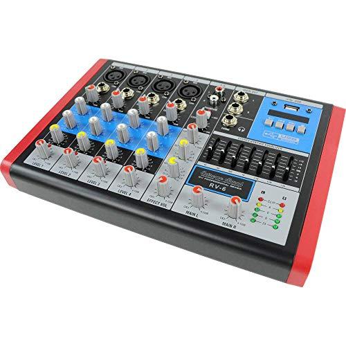 EXTREME SOUND RV-6 MIXER AUDIO PRO compatto, 6 canali Audio, Bluetooth, USB-MP3 Player, Effetti Riverbero, Phantom Power per MIC Professionali, Equalizzatore e VU-Meters di uscita. Assistenza Italia