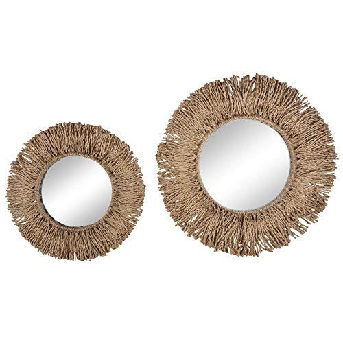 YUESUO Espejo nórdico retro tejido hecho a mano redondo espejo Homestay salón decoración cafetería Boho decoración macramé
