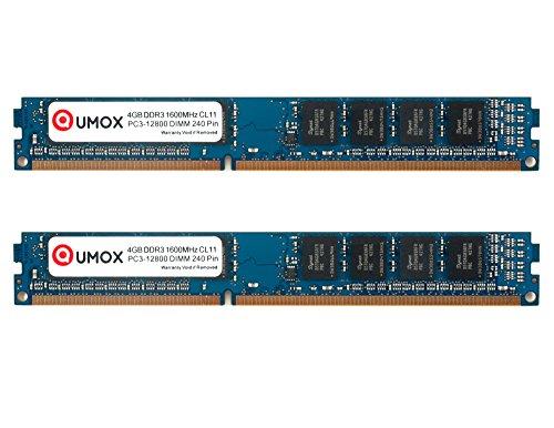 QUMOX 8Go (4Gox2) 4GB DDR3 1600MHz PC3-12800 DDR3 1600 (240 PIN) DIMM Mémoire pour ordinateur de bureau