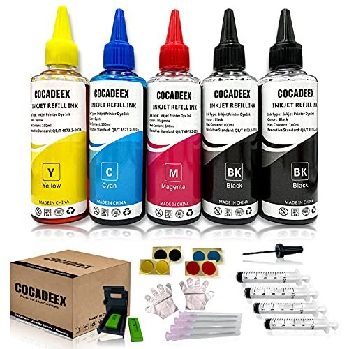 COCADEEX Nachfüllset kompatibel mit Canon Tintenpatrone PG-540 CL-541 PG-540XL CL-541XL 540 541 540XL 541XL PG-40 CL-41 Serie, 5 Flaschen Tinte mit Nachfüllwerkzeug (2BK 1C 1M 1Y)