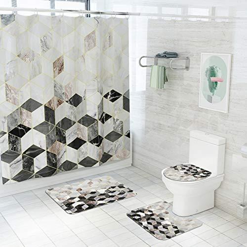 AJDGNL Conjunto de Cortinas de Ducha, Conjunto de Cortinas de baño de 4 Piezas, Cortina de Ducha, Cortina de Ducha con Alfombra Antideslizante.