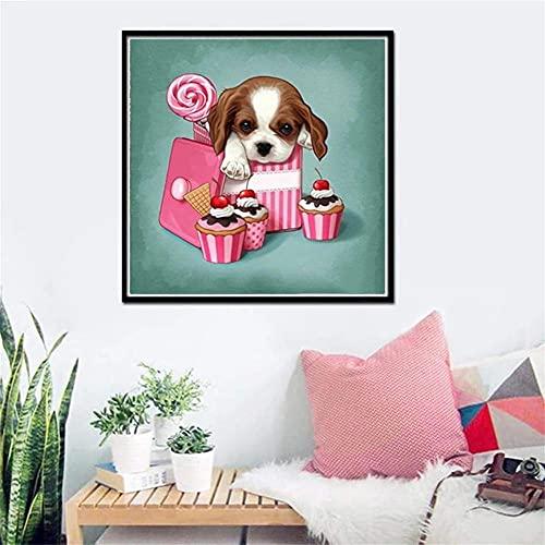5D Diamond Painting Adulto/niño Perro animal,DIY Kit de Pintura de Diamante Completo Bordado punto de cruz Cristal Rhinestone Lienzo Artesanía decor de la pared del hogar 50x50cm(20x20in)