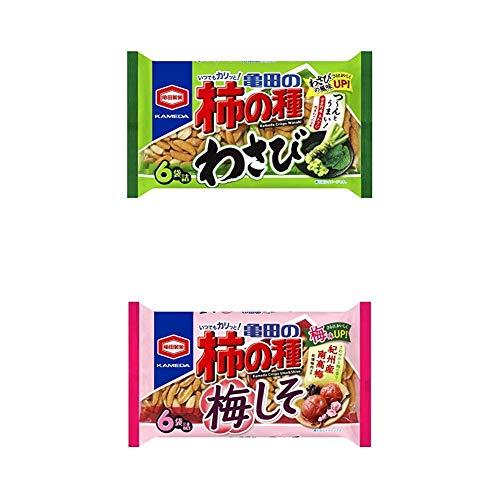 【セット買い】亀田製菓 亀田の柿の種わさび6袋詰 182g×12袋 + 柿の種梅しそ6袋詰 182g×12袋
