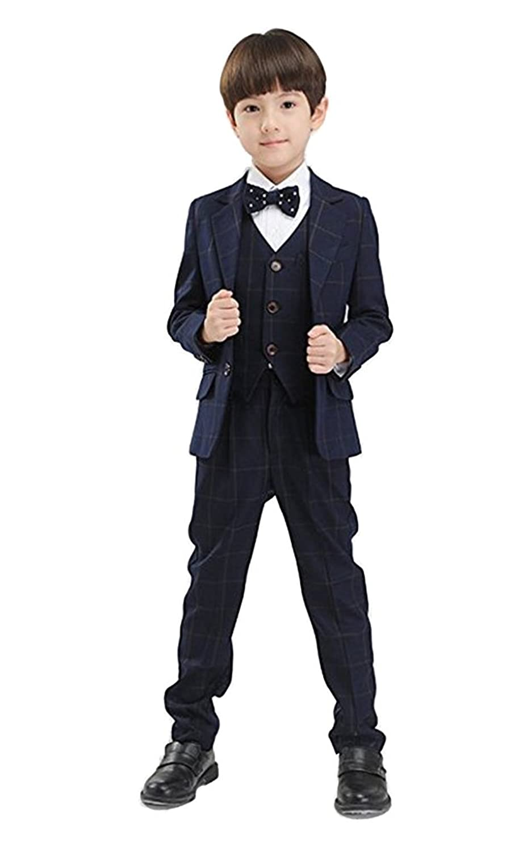 HIMOE フォーマルスーツ 男の子 子供スーツ チェック柄 5点セット 3色入り 演出 結婚式 発表会 入学式 卒業式 七五三 入学 入園 面接 (160サイズ, ネイビー)
