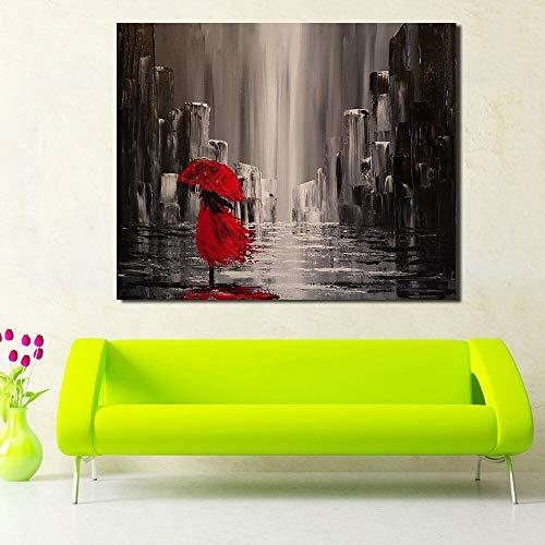 Geiqianjiumai muurafbeelding abstract schilderij vrouw speelt met paraplu rood schilderij olieverfschilderij muurkunst afbeelding zonder lijst