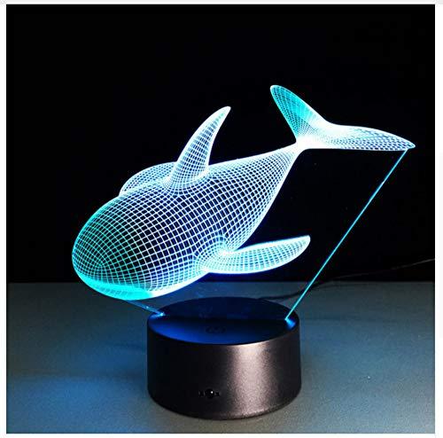 Lampe 3D Whale 7 Couleur Led Veilleuses Pour Enfants Toucher Led Led Table Usb Lampara Lampe Bébé Veilleuse Nuit Pour Placard Bol Lumière
