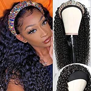 UNice Hair Headband Scarf Human Hair Wig Curly Hair, Brazilian Virgin Human Hair Glueless Non Lace Front Wig for Black Women Wear and Go Wig 150% Density 20inch