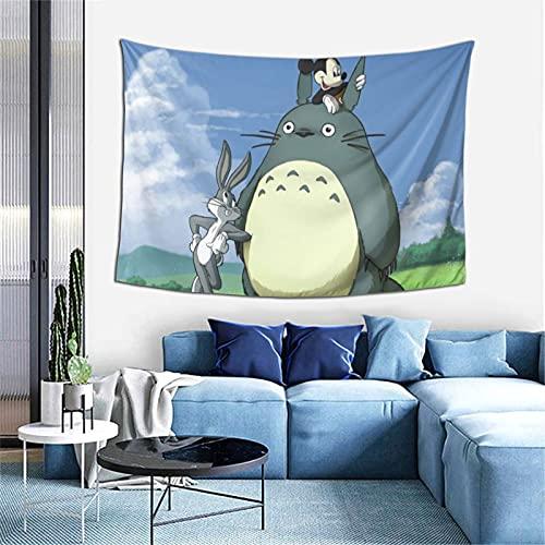 Totoro - Tapiz de Mickey Mouse de dibujos animados exquisita, suave y agradable al tacto, para sala de estar, dormitorio, decoración de paredes de 60 x 40 pulgadas