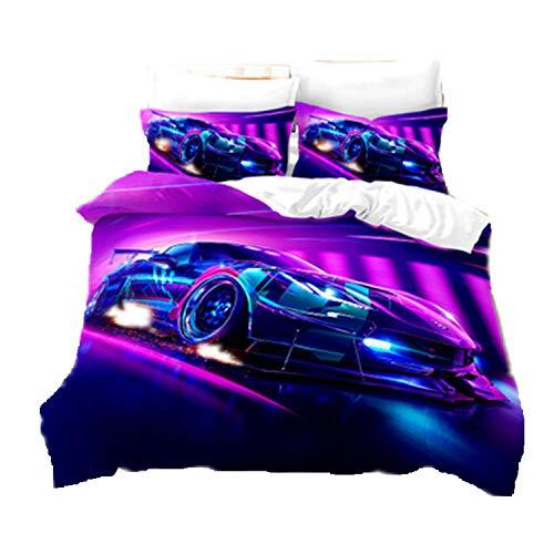 Dekbedovertrek, 220 x 240 cm, sportauto, violet, met ritssluiting, 3-delig, beddengoed van microvezel, zacht…