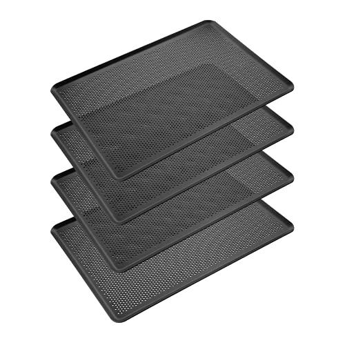 Erreke – Set de 4 Bandejas de Horno de Aluminio, 45.7x33 cm (espesor 2mm), Calidad Profesional, Bandeja Rectangular Perforada Antiadherente Hecha en Europa