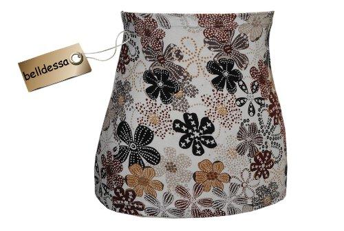 Belldessa 3 in 1 : Jersey - Nierenwärmer / Shirt Verlängerer / Accessoire - Frau XL -  Blumen weiß braun  - Bauchwärmer / Bauchband