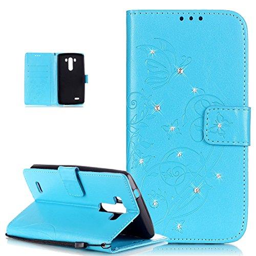 ikasus Compatible avec Coque LG G3 Etui Bling Sparkle Diamant Motif Embosser Fleur Vines Papillons Housse en Cuir PU Housse en Cuir Portefeuille Protection Flip Case Etui Housse Coque pour LG G3,Bleu