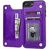 iPhone 7 Plus iPhone 8 Plus Wallet Case with Card Holder,OT ONETOP Premium PU Leather Kickstand Card Slots Case,Double Magnetic Clasp and Durable Shockproof Cover 5.5 Inch(Purple)