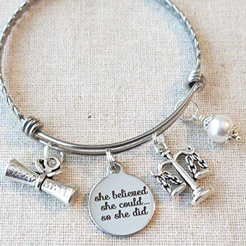 LAWYER Gift, Scales of Justice Bracelet, SHE BELIEVED She Could So She Did Law School Graduate Gift, Paralegal Gift, Legal Assistant Jewelry, New Law Job Gift