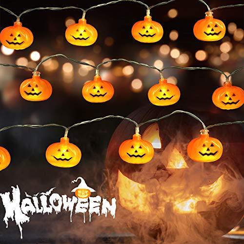 MEULOT Halloween Pumpkin String Lights 10 ft 20 LED Pumpkins Halloween Outdoor and Indoor String Lights, Halloween Lights Decorations 2 Lighting Modes