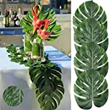 AerWo 14' Artificial Tropical Palm Leaves, Safari Birthday Decorations Extra Large Faux Leaf Jungle Hawaiian Party Decorations with Luau Beach Theme Decorations for Table Decoration Accessories, 48pcs