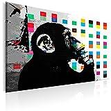 murando Quadro 120x80 cm - 1 Pezzo Stampa su Tela in TNT XXL Immagini Moderni Murale Fotografia Grafica Decorazione da Parete Banksy Street Art Scimmia g-B-0030-b-a