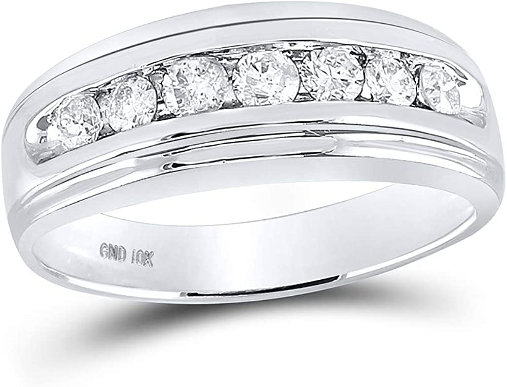 10kt White Gold Mens Round Channel-Set Wedding Ring Max 87% Free shipping OFF Band Diamond