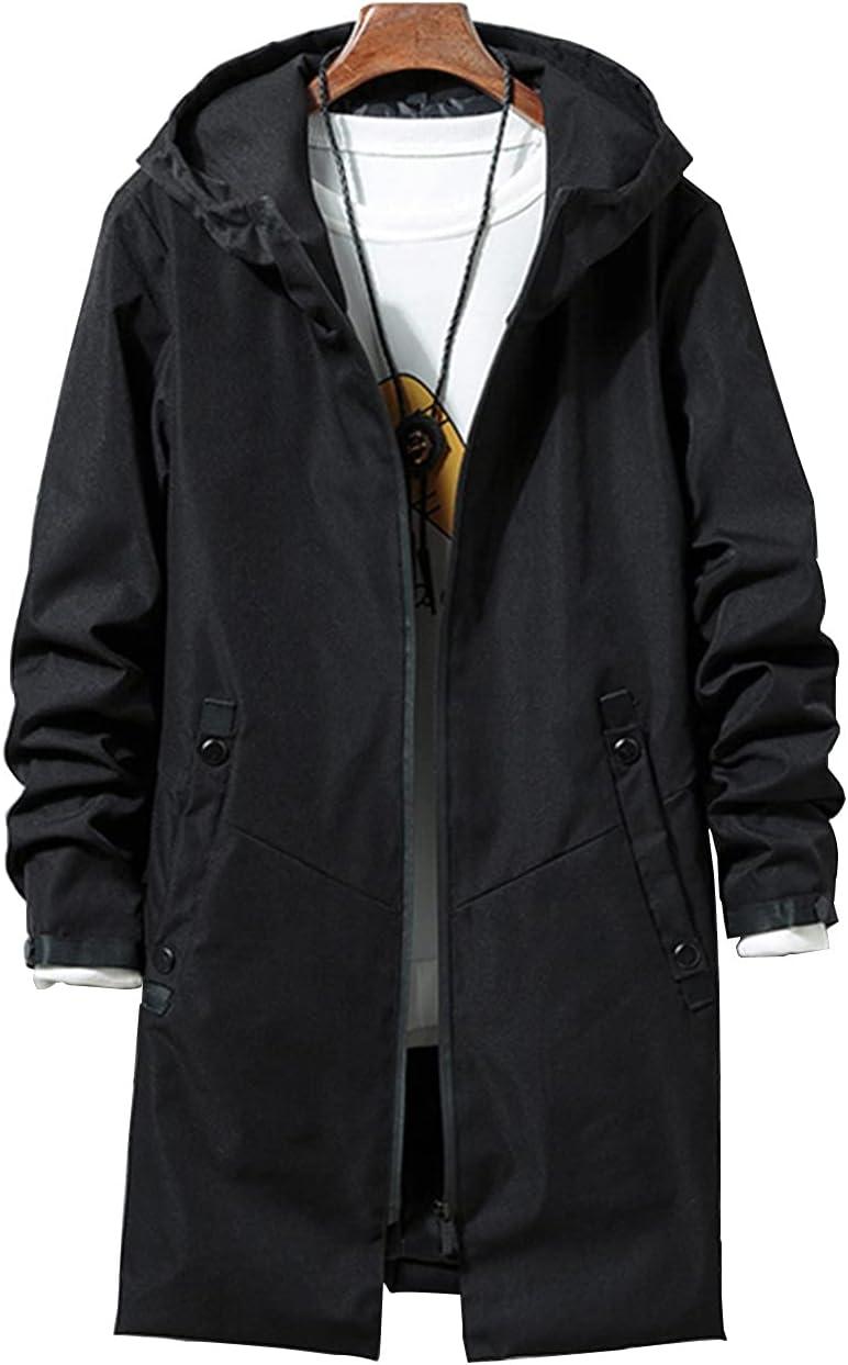 XYXK Men's Lightweight Waterproof Zip Hoodie Jacket Anorak Windbreaker Thin Coat Zipper Long Sleeve Solid Outdoor Trench (Color : 1, Size : XX-Large)