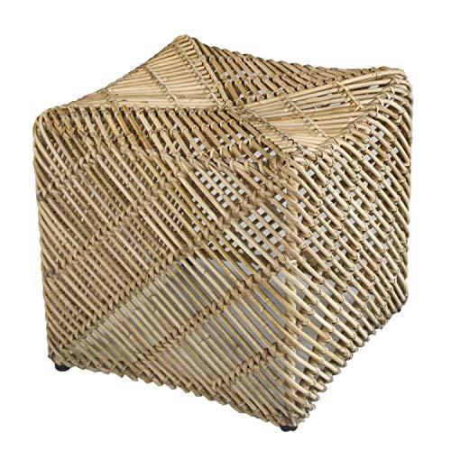casamia Rattan-Sitzhocker Quadratischer Pouf Tiger aus Mangrove
