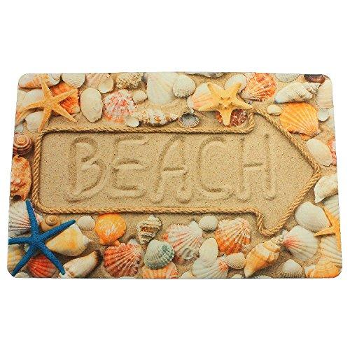 Sanixa PA32054 Vintage Anti-slip badmat strandschelpen beige | 60 x 40cm | extra dun | badkamertapijt mat douchemat | Sneldrogend