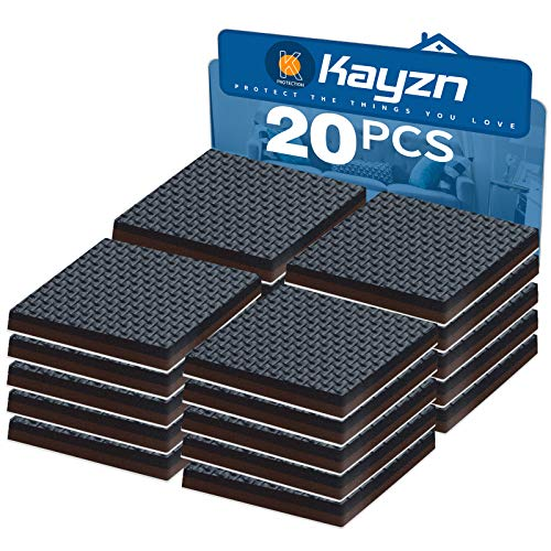 Kayzn Non Slip Felt Furniture Feet Pads Black 20 pcs 2quot Square Premium Rubber Grippers Self Adhesive Thick Chair Leg Floor Protectors and Furniture Stoppers for Fixation in Place Furniture