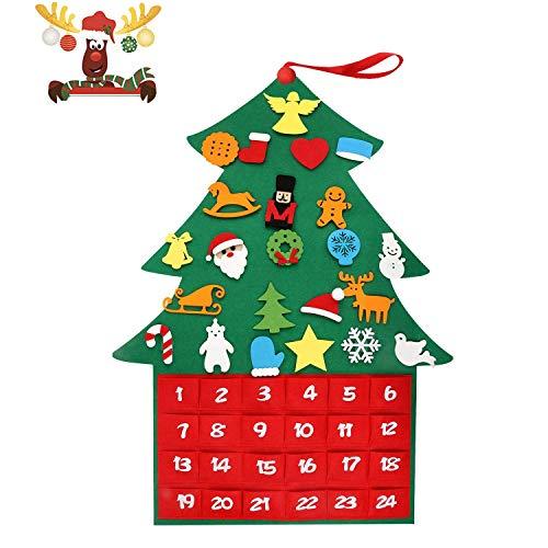 T98 Adventskalender Zum Befüllen, Filz Weihnachtskalender mit 24 DIY Weihnachtlichen Ornamente als Geschenk-Kalender für Kinder Mädchen Männer Erwachsene (Grün 1)