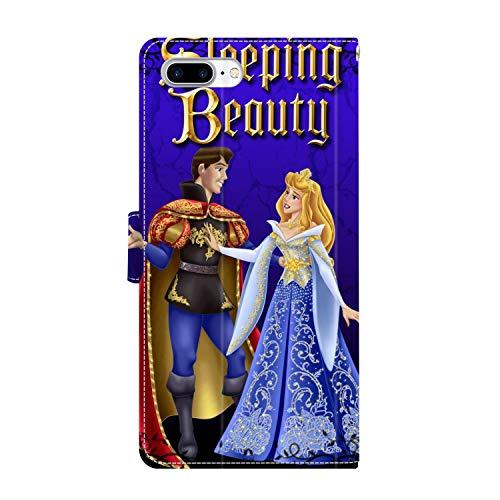 DISNEY COLLECTION Funda tipo cartera para iPhone 7/8 Plus, piel sintética, diseño de Disney Durmiente, con correa de mano, soporte magnético, protección contra caídas