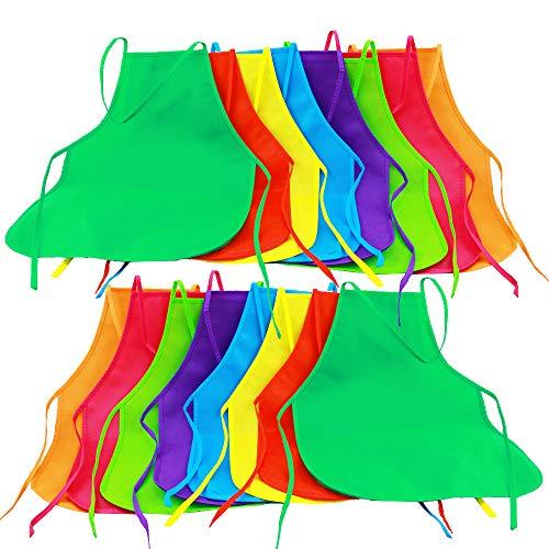 Onepine 16 Pezzi 8 Colori Grembiuli in Tessuto Grembiuli per Bambini Grembiule per Bambini per Cucina, Aula, attività pittorica (16 Pezzi 8 Colori)
