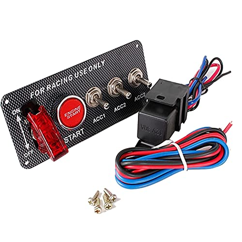 Panel de interruptor de encendido LED de 12 V, interruptor de encendido de fibra de carbono de modificación, utilizado para motor de carreras, combinación de interruptor de encendido integrado de carr