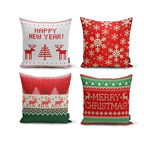 Ysahome Funda de cojín de decoración navideña, con cita de Año Nuevo, diseño de ciervo, copos de nieve, árbol de Navidad, 45 x 45 cm, color verde, rojo y blanco (juego de 4)