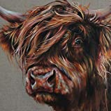 DIY 5D Full Animal Highland Cow Square Diamond Painting by Number Kits Cartoon Painting for Adults and Children Crystal Rhinestone Cross Stitch Beautiful Pictures for Wall Decoration 40x40cm/16x16in