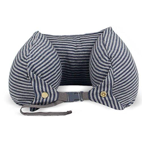 ZHOU LI Almohada de Almohada de Viaje cojín para Cuello, Cabeza, Espuma de Memoria, Peso Ligero, portátil, Suave (Color : Gray Stripes)