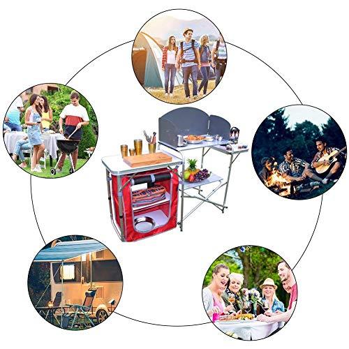 51BQfC887SL - Klappbarer Camping-Tisch Tragbarer Picknicktisch Aluminiumlegierung 1680D Oxford-Stoff Mobiler Küchentisch Kochtisch Aufbewahrungstisch für Gartenpatio BBQ Party lili