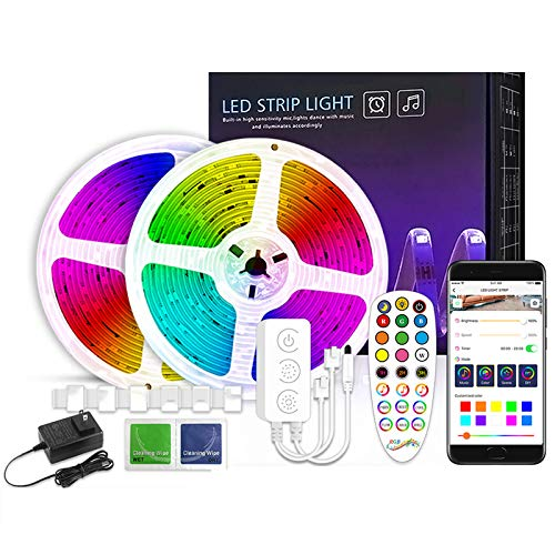 HUDB Color Changing 32.8Ft LED Strip Lights Bluetooth, App Control, 24 Key Remote LED Lights, Control Box LED Music Lights, 9 Scenes Mode Multicolor LED Lights for Party, 2X16.4Ft / 25M